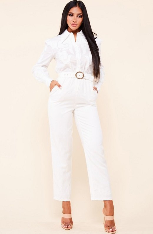White Linen Mesh Long Sleeveless Belted Jumpsuit 6