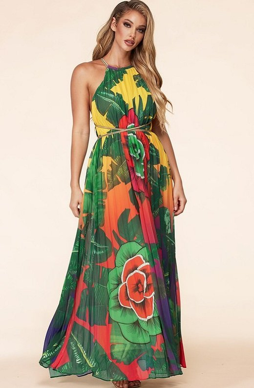 Yellow Flower Pleated Halter Tie Up Maxi Dress 4