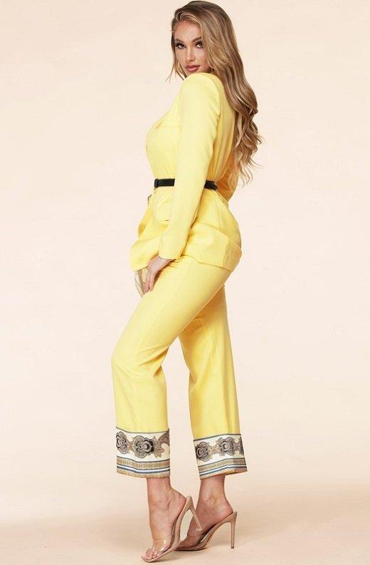 Yellow Scarf Print High Waist Pants Blazer Set 3