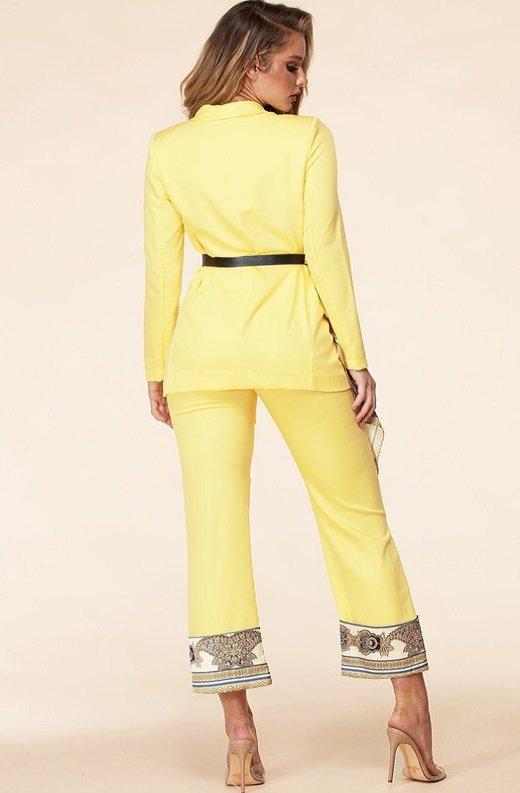 Yellow Scarf Print High Waist Pants Blazer Set 4