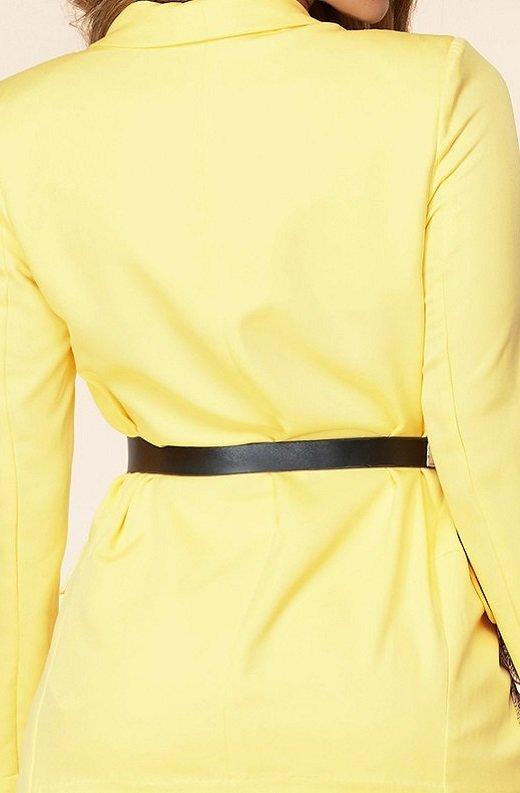Yellow Scarf Print High Waist Pants Blazer Set 6