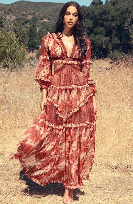 Burgundy Floral Print Ruffle Cut Out Tie Up Back Maxi Dress 1
