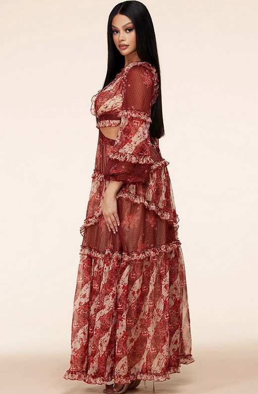 Burgundy Floral Print Ruffle Cut Out Tie Up Back Maxi Dress 3