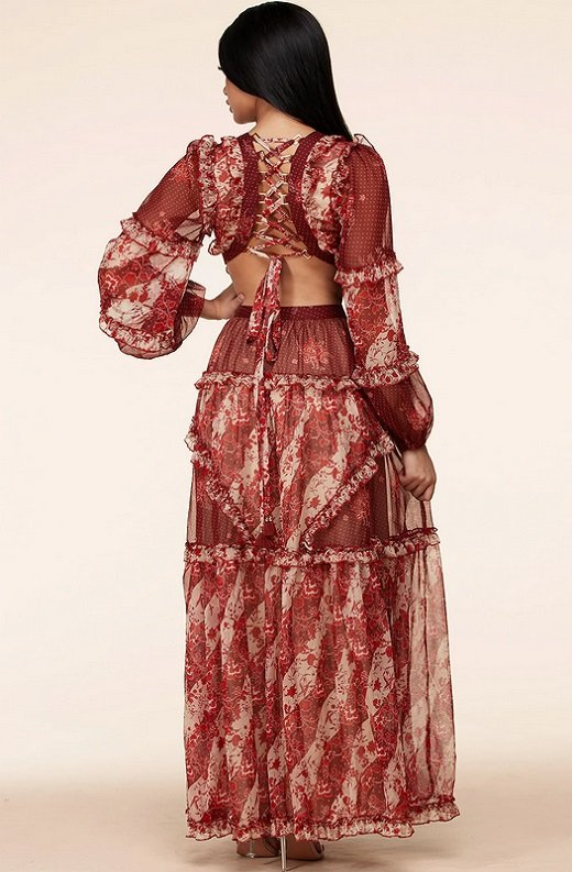 Burgundy Floral Print Ruffle Cut Out Tie Up Back Maxi Dress 4