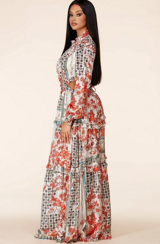 Floral Print Ruffle Cut Out Tie Up Back Maxi Dress 2