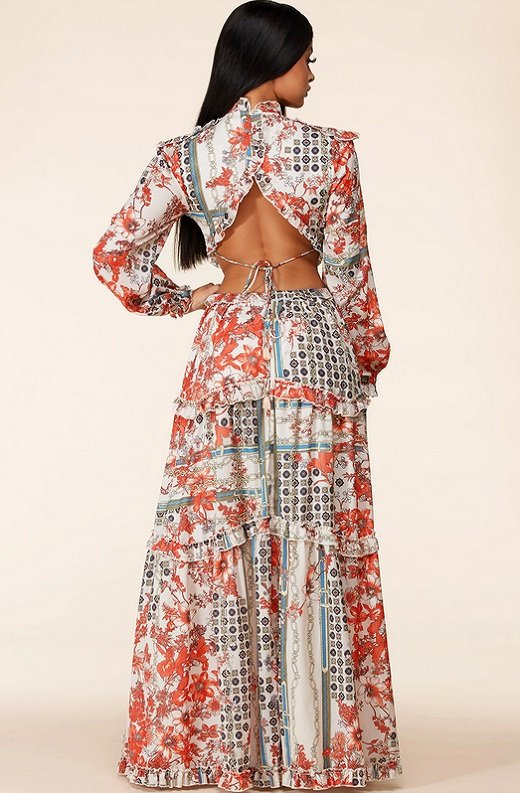 Floral Print Ruffle Cut Out Tie Up Back Maxi Dress 3