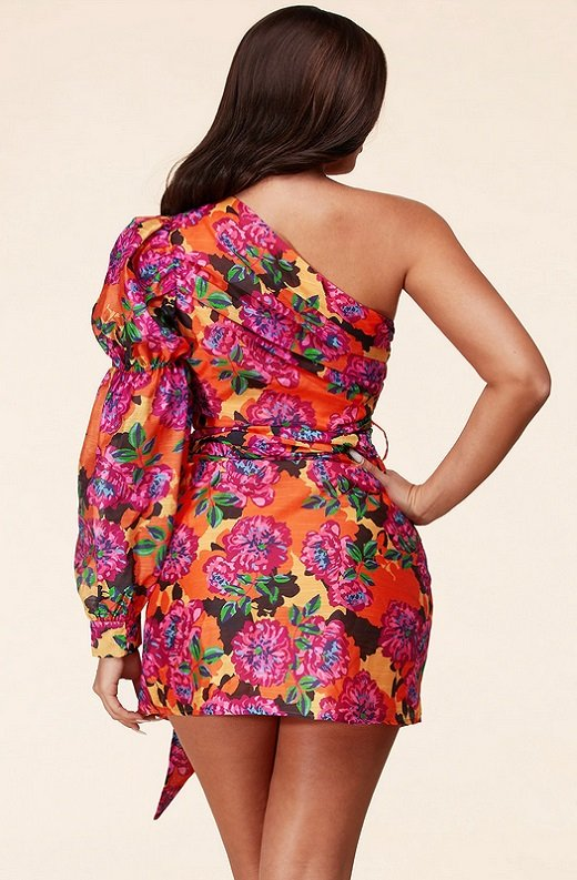 Fuchsia Floral One Shoulder Belted Wrap Mini Dress 4