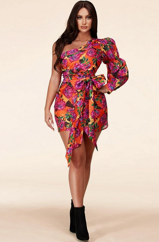Fuchsia Floral One Shoulder Belted Wrap Mini Dress 7