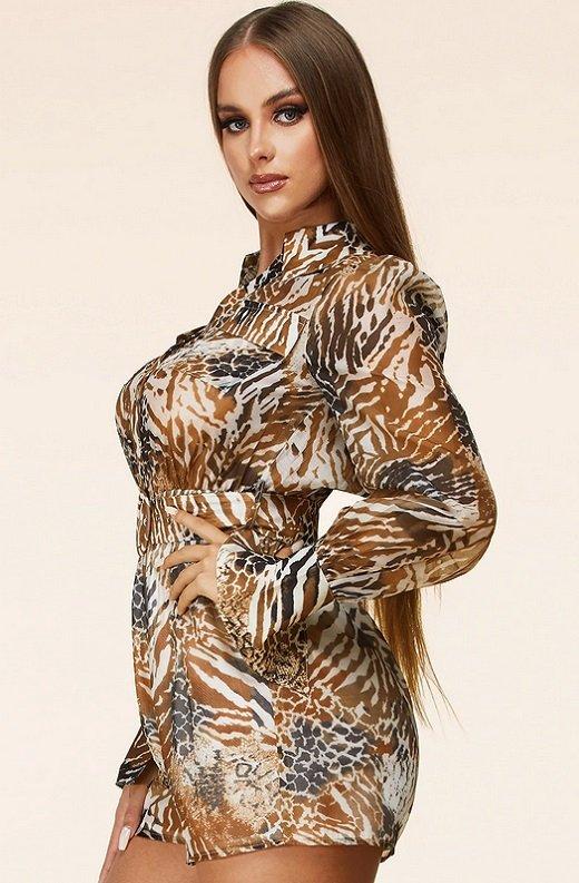 Leopard Print Belted Button Down Pocket Short Set 2