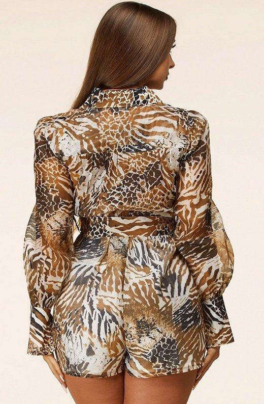 Leopard Print Belted Button Down Pocket Short Set 3