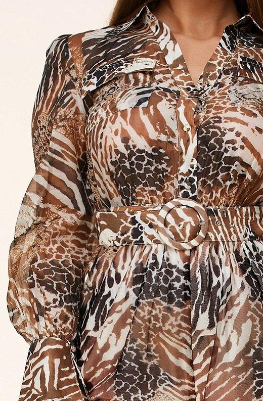Leopard Print Belted Button Down Pocket Short Set 4