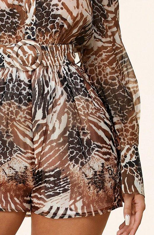 Leopard Print Belted Button Down Pocket Short Set 5