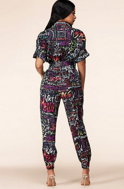 Navy Multi Color Print Cuffed Short Sleeves Cargo Jumpsuit 3