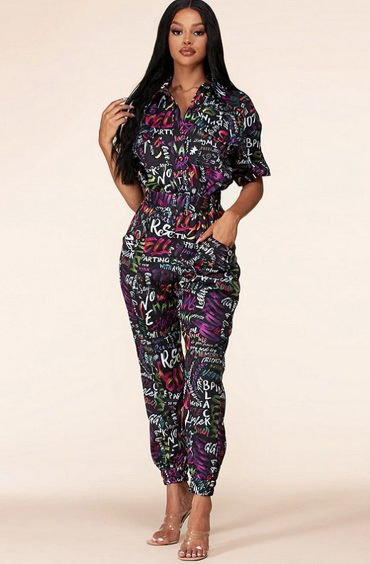 Navy Multi Color Print Cuffed Short Sleeves Cargo Jumpsuit 6