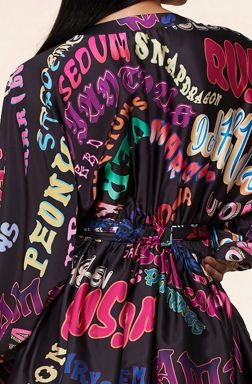 Navy Multi Color Wording Print Belted Skater Dress 5