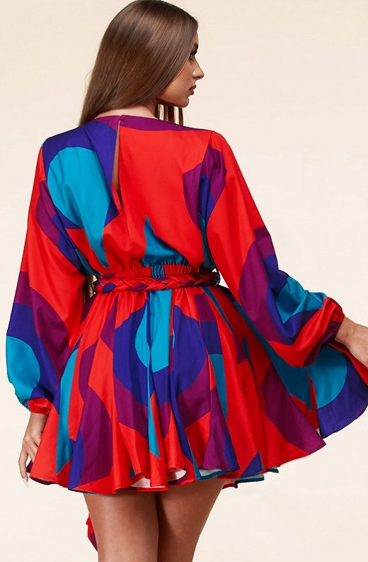 Red Multi Geo Pattern Long Sleeve Godet Wrap Tie Waist Dress 3
