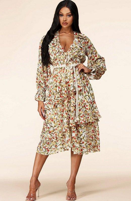 Taupe Floral Long Sleeve Ruffle Midi Dress 1