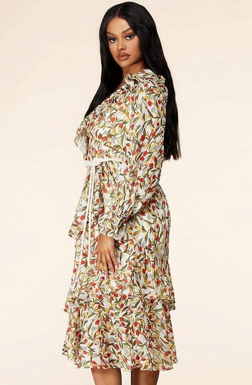 Taupe Floral Long Sleeve Ruffle Midi Dress 2