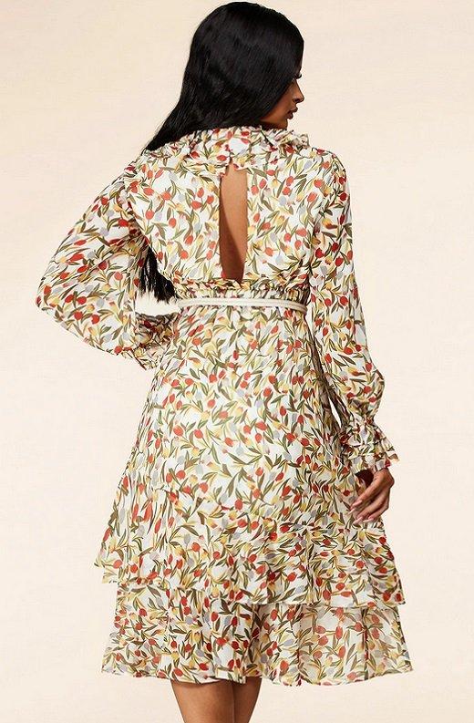 Taupe Floral Long Sleeve Ruffle Midi Dress 3