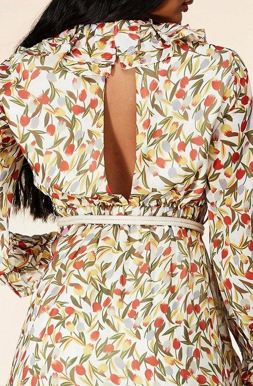 Taupe Floral Long Sleeve Ruffle Midi Dress 5