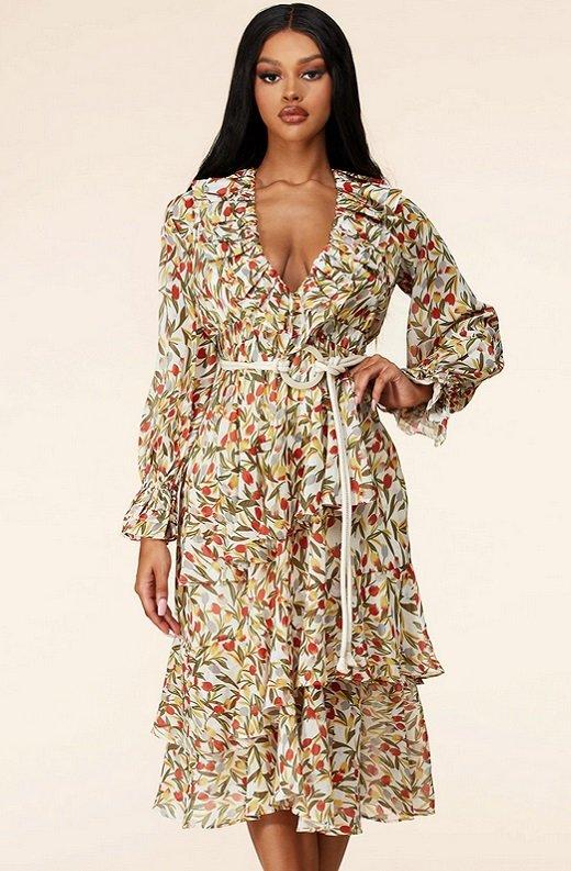 Taupe Floral Long Sleeve Ruffle Midi Dress 6