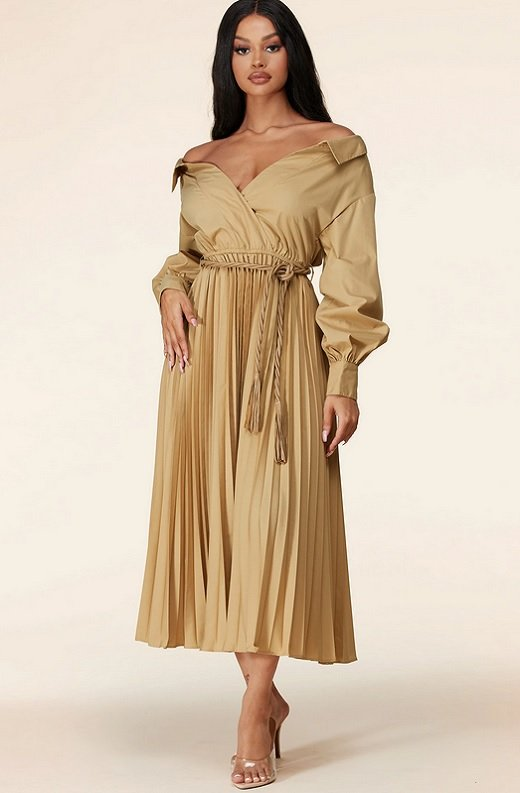 Beige Midi Off Shoulder Tasseled Tie-Waist Dress 1