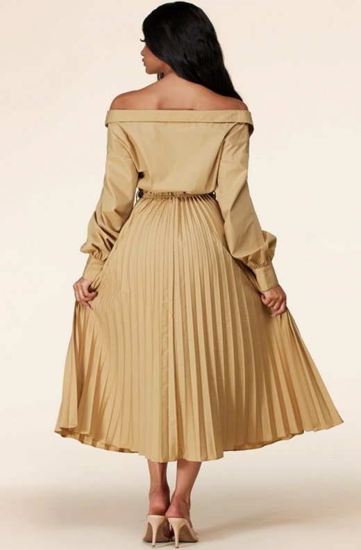 Beige Midi Off Shoulder Tasseled Tie-Waist Dress 3