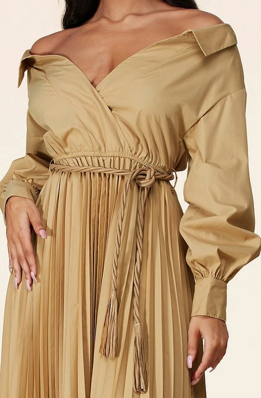 Beige Midi Off Shoulder Tasseled Tie-Waist Dress 4