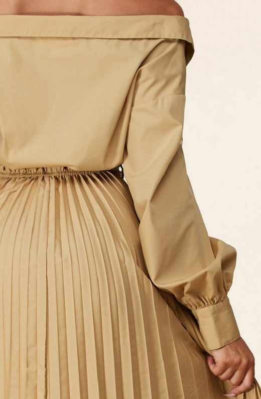 Beige Midi Off Shoulder Tasseled Tie-Waist Dress 6