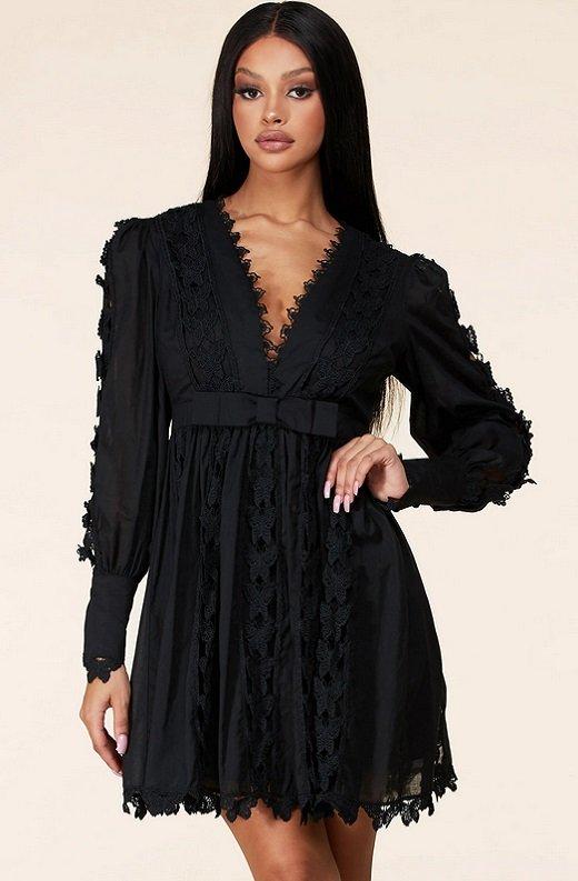 Black Crochet Lace V Neck Dress 1