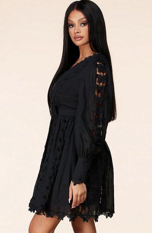 Black Crochet Lace V Neck Dress 2