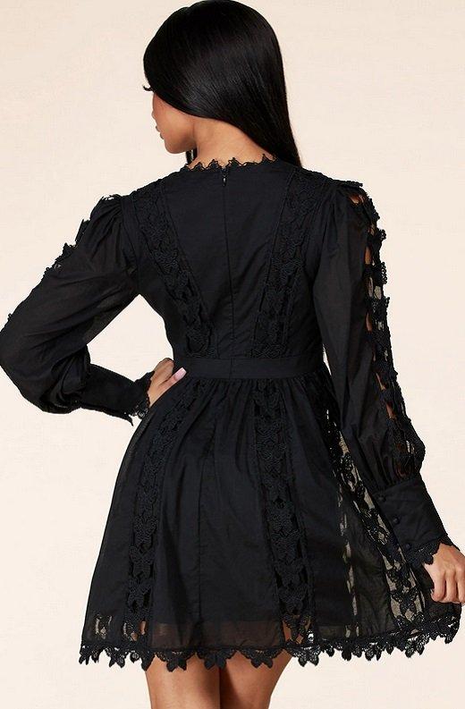 Black Crochet Lace V Neck Dress 3