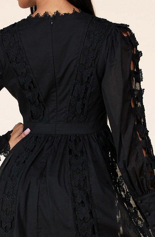 Black Crochet Lace V Neck Dress 5