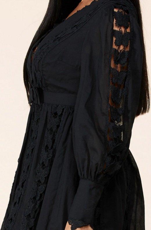 Black Crochet Lace V Neck Dress 6