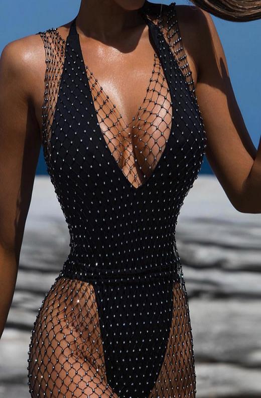 Black Fishnet Silver Rhinestone Cover Up Dress 3