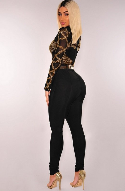 Black Gold Rhinestone Faux Bustier Mesh Long Sleeves Bodysuit 2