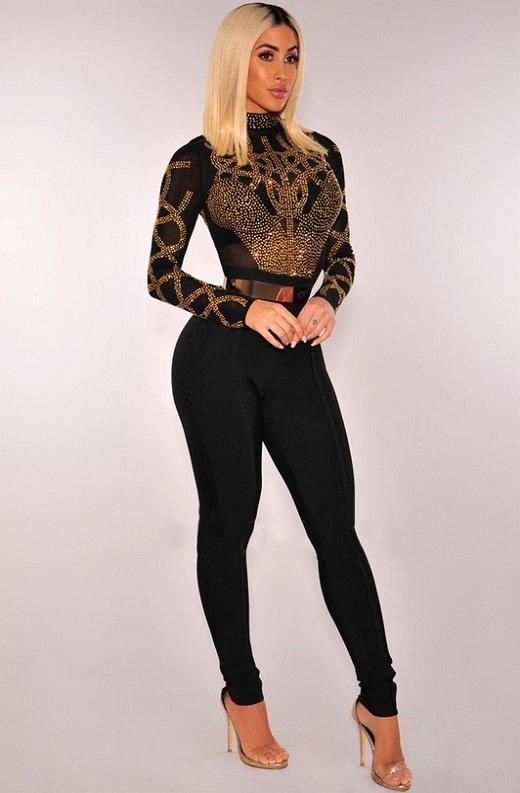 Black Gold Rhinestone Faux Bustier Mesh Long Sleeves Bodysuit 3