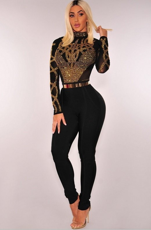 Black Gold Rhinestone Faux Bustier Mesh Long Sleeves Bodysuit 4