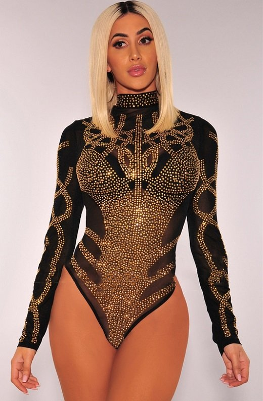 Black Gold Rhinestone Faux Bustier Mesh Long Sleeves Bodysuit 5