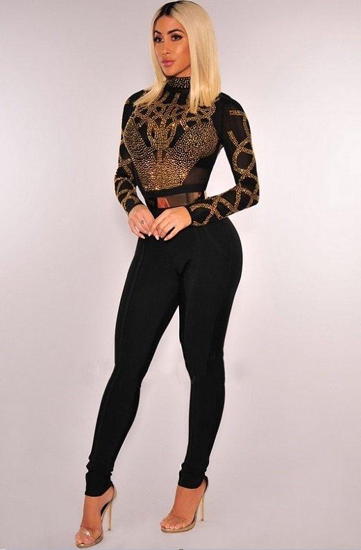 Black Gold Rhinestone Faux Bustier Mesh Long Sleeves Bodysuit 6