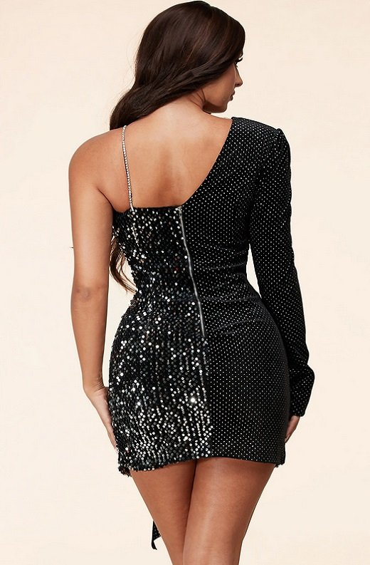 Black Iridescent Asymmetrical Rhinestone Bodycon Dress 4