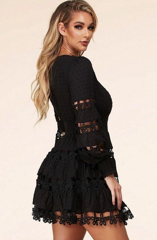 Black Nude Crochet Lace Long Sleeves V Neck Dress 2