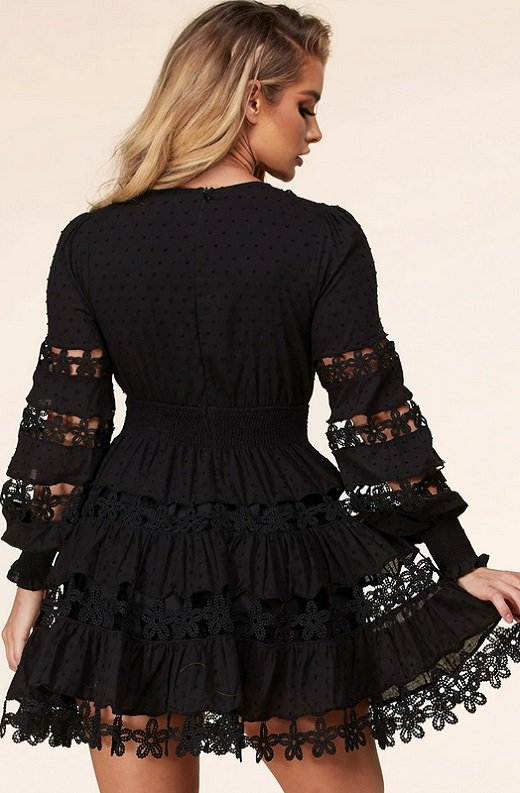 Black Nude Crochet Lace Long Sleeves V Neck Dress 3