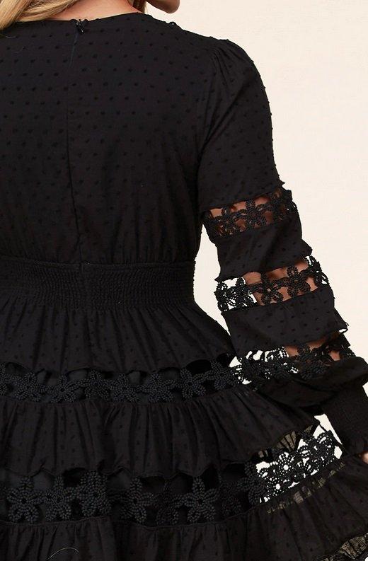 Black Nude Crochet Lace Long Sleeves V Neck Dress 5
