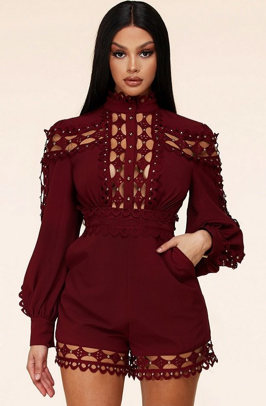 Burgundy Crochet Lace Mock Neck Romper Set 1