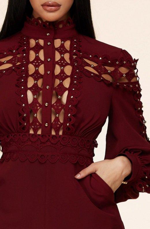 Burgundy Crochet Lace Mock Neck Romper Set 4
