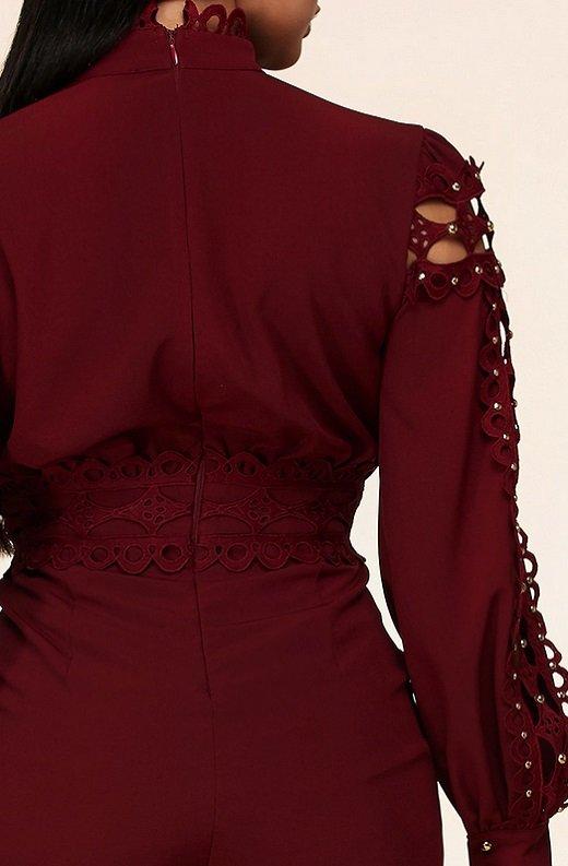 Burgundy Crochet Lace Mock Neck Romper Set 5