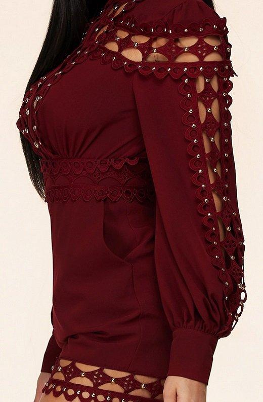 Burgundy Crochet Lace Mock Neck Romper Set 6