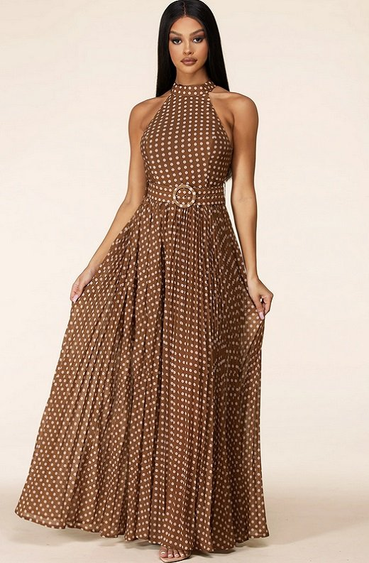 Mocha Polka Dot Mock Neck Sleeveless Belted Maxi Dress 1