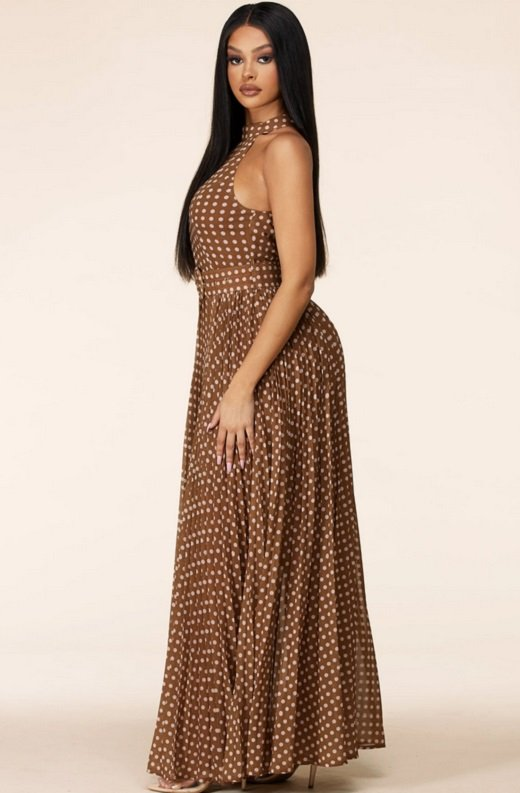 Mocha Polka Dot Mock Neck Sleeveless Belted Maxi Dress 2